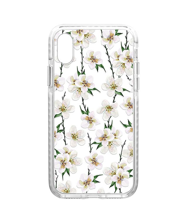 White Floral iPhone X Case in White.