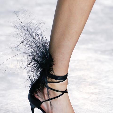 shoe trends 2018: feather sandals at Saint Laurent