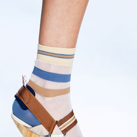 shoe trends 2018: striped socks and sandals at Fendi