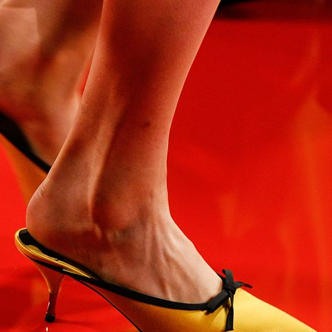 shoe trends 2018: yellow satin mules at Rochas