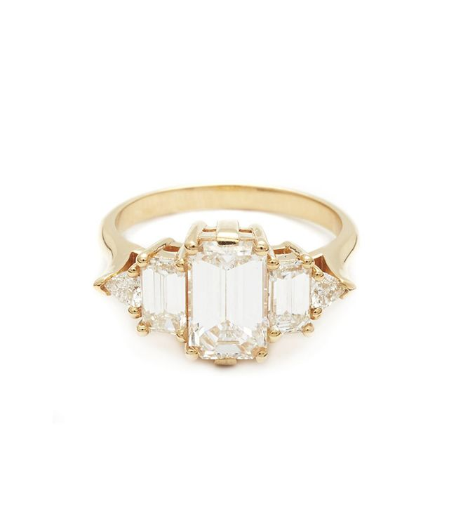 Anna Sheffield Theda Ring in Yellow Gold & Emerald Cut White Diamond