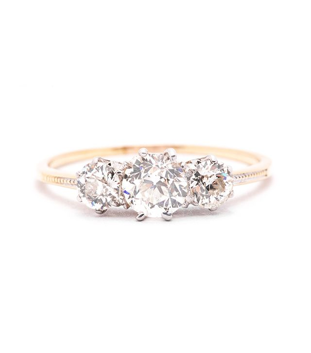 Beacon Hill Jewelers Edwardian 1.35 Carat Three-Stone Diamond Engagement Ring