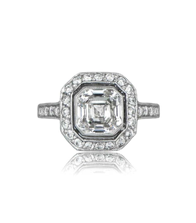 Estate Diamond Jewelry Asscher Cut Diamond Engagement Ring