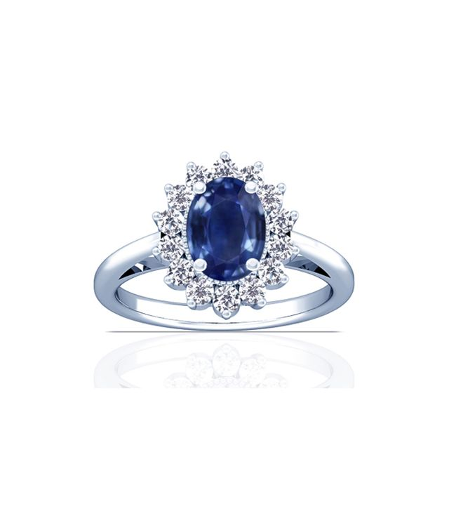Gems NYC Blue Sapphire Oval and Diamond Halo Engagement Ring