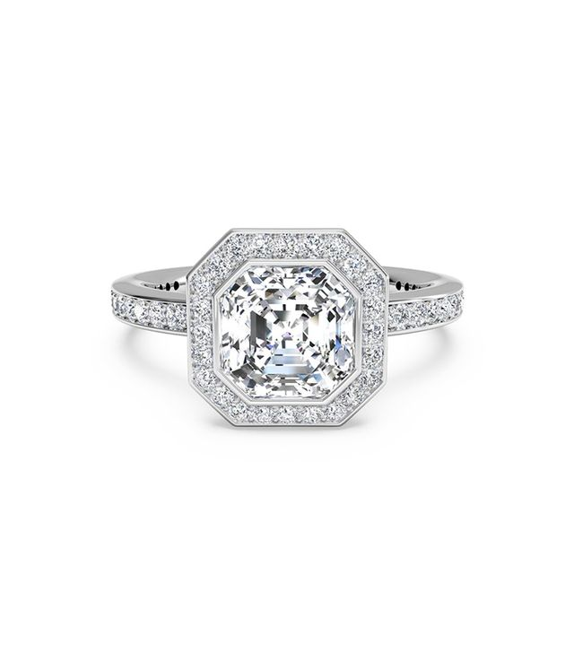 Ritani Vintage Halo Micropavé Diamond Band Engagement Ring