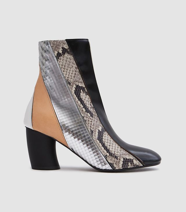 Curved Heel Leather Boot