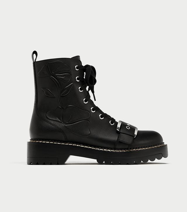 Zara Embossed Ankle Boot