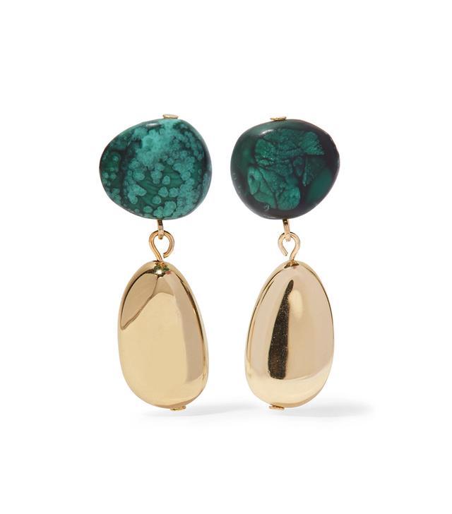 Short Mineral Gold-tone Resin Earrings