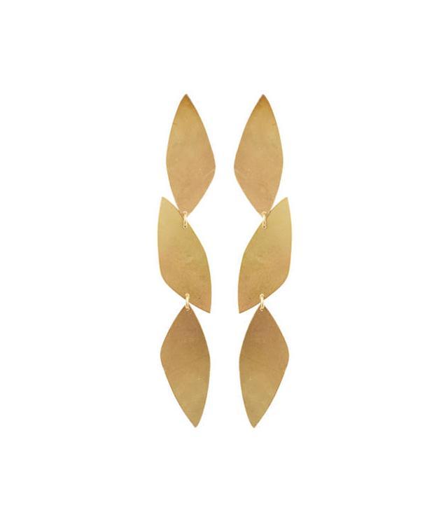 We Dream in Colour Brass Dahlia Earrings