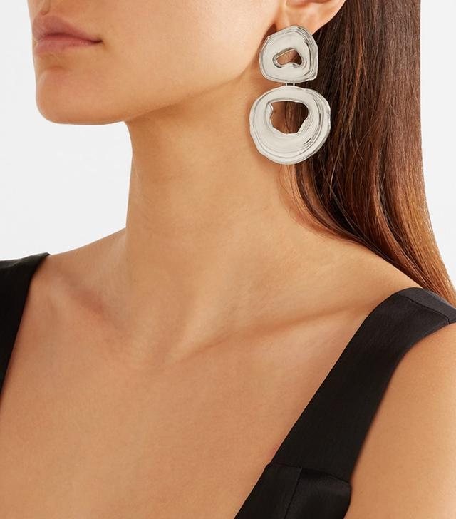 Double Whirlpool White Bronze Earrings