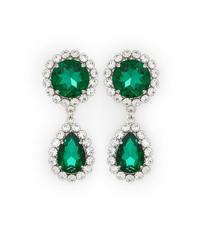 Alessandra Rich Emerald Drop Earrings