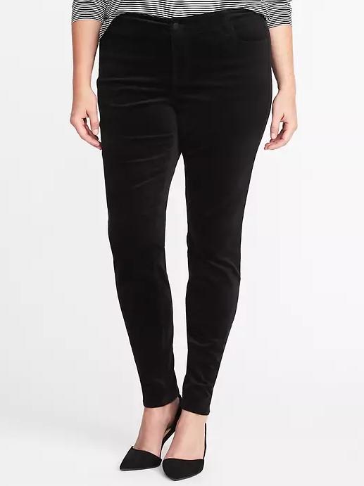 Old Navy High-Rise Smooth & Slim Plus-Size Velvet Rockstar Pants