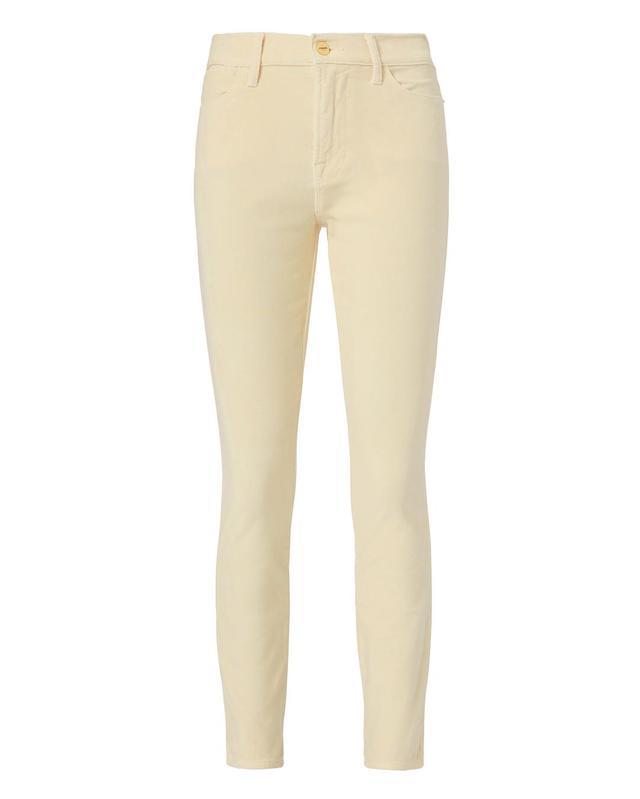FRAME Le High Ivory Velvet Jeans Ivory 26
