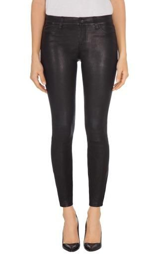 L8001 Mid-Rise Super-Skinny Leather Legging In Noir