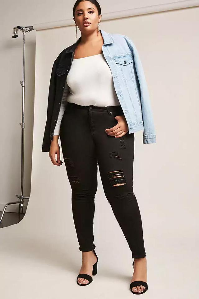 Plus Size Distressed High-Rise Denim Jeans