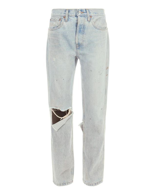 Re/Done Grunge Destroyed Straight Jeans Denim 27