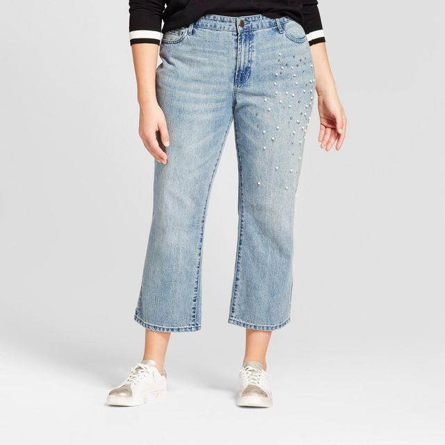 Plus Size Straight Leg Pearl Embellished Jeans