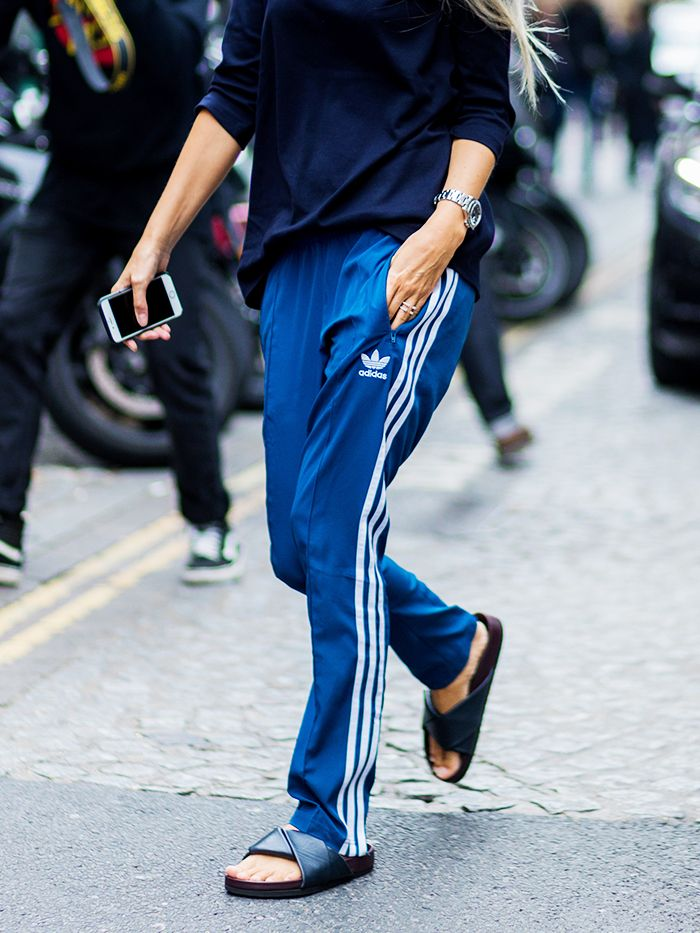 blue adidas pants outfit