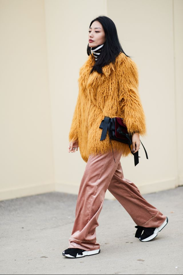 We love this bold, fuzzy coat and oversize pants pairing.