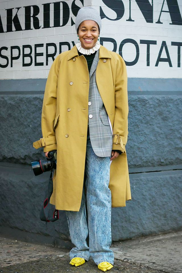 Stay warm by layering an oversize coat atop your favorite blazer.
