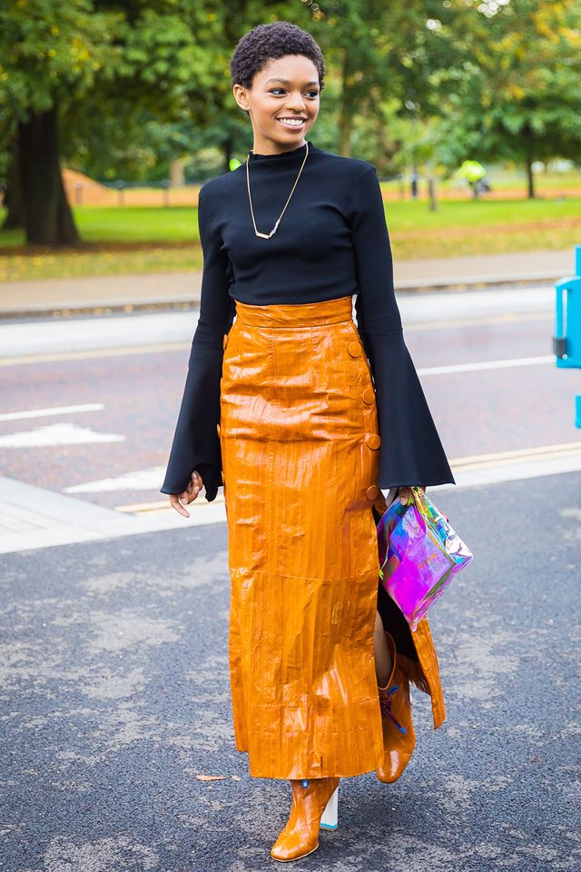 Matching your boots to your skirt is a new one, but we are so on board.