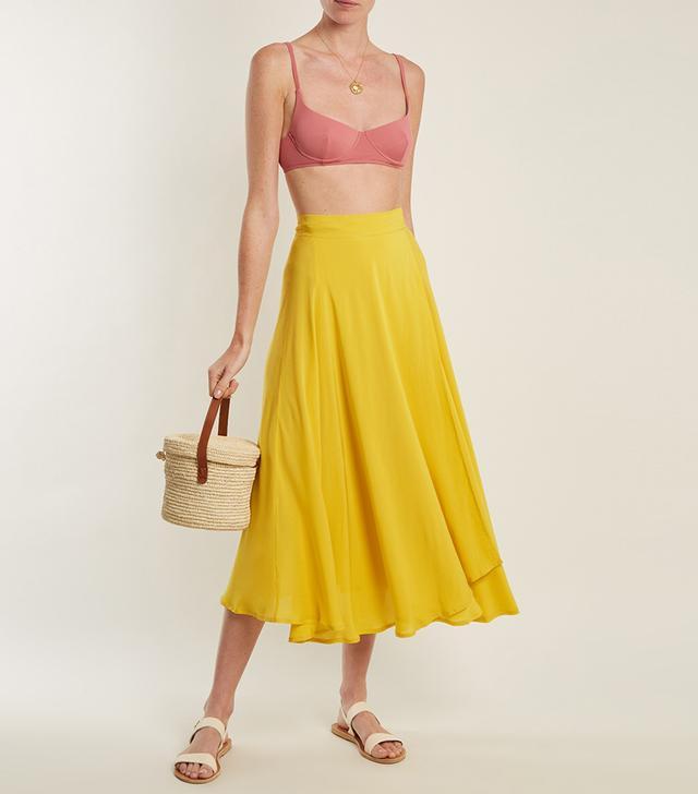 Jade woven wrap skirt