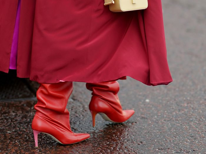 red dress boots