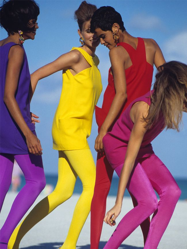 Versace vintage pictures: colourful tights