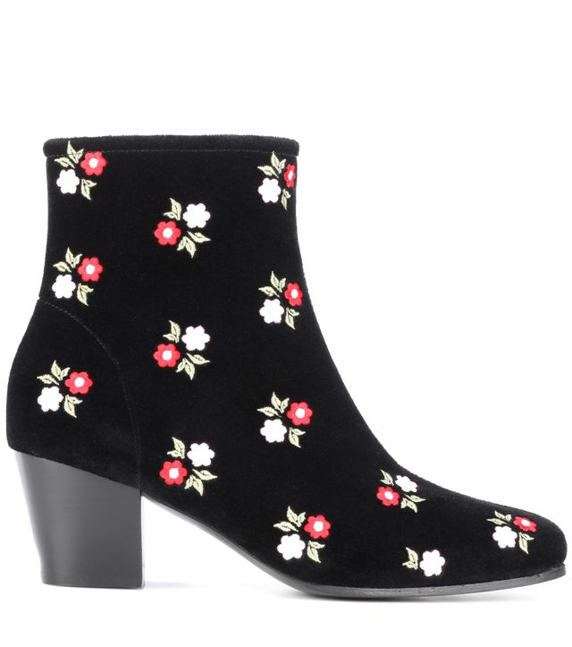 Embroidered velvet ankle boots