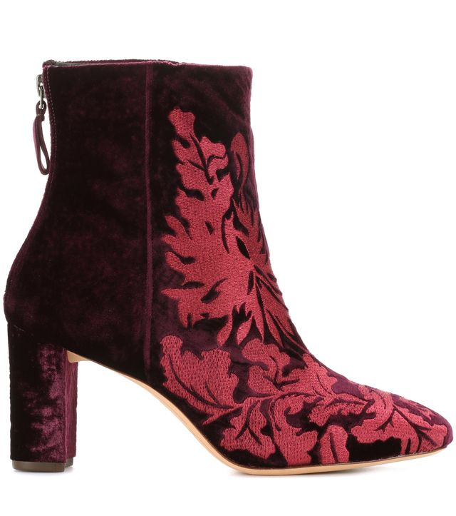 Regina embroidered velvet ankle boots