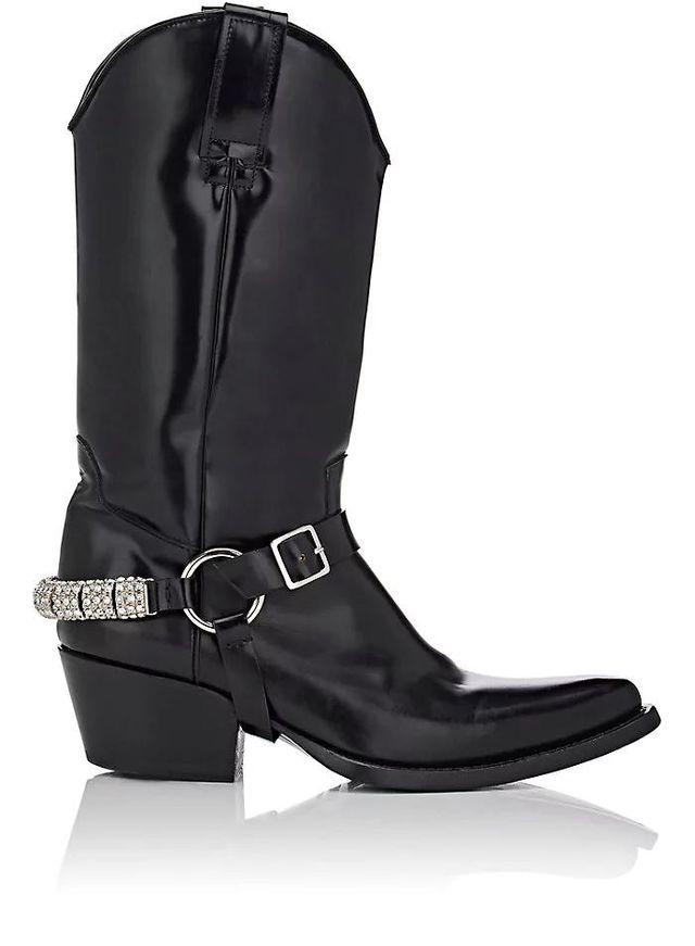 Women's Embellished-Strap Leather Cowboy Boots
