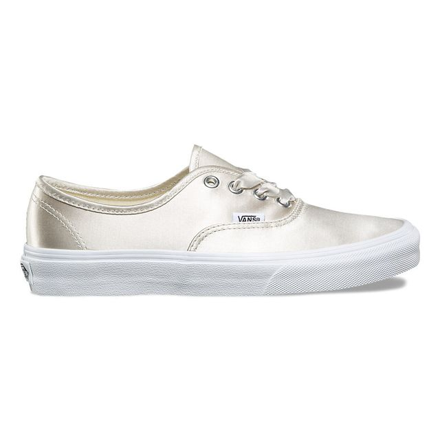 Vans Satin Lux Authentic Sneakers in Light Silver/True White