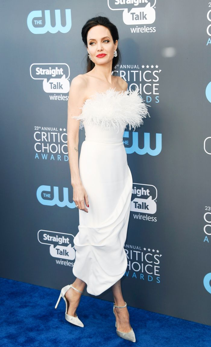 Angelina Jolie feather trend: Critics Choice Awards
