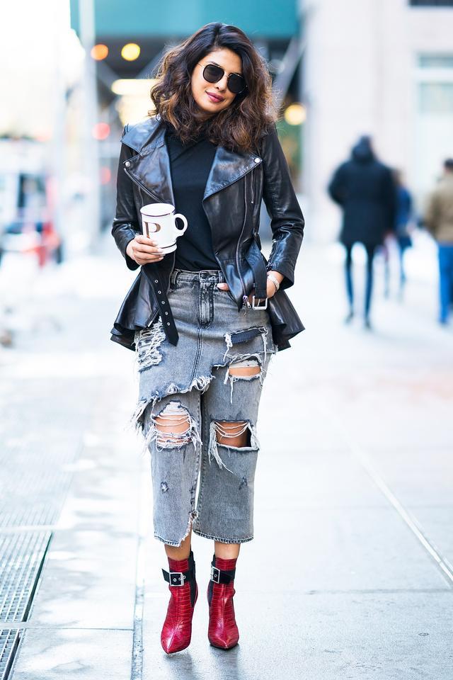OnPriyanka Chopra: Fleur du MalCriss Cross Long Sleeve Turtleneck Bodysuit ($285); Alexander McQueen leather jacket; R13Double Classic Crop Jeans ($695); Rag & BoneWren...