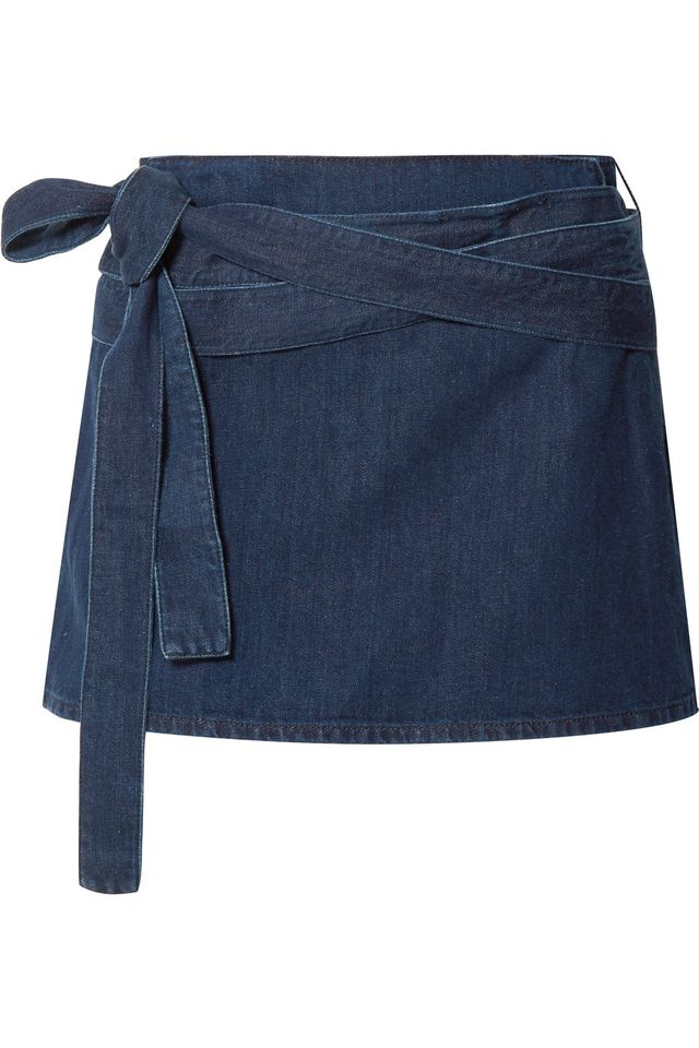 Leather-trimmed Denim Mini Skirt