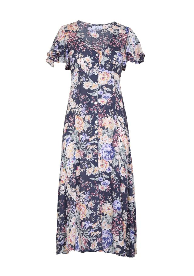 Auguste Dahlia Frill Sleeve Day Dress in  Ink
