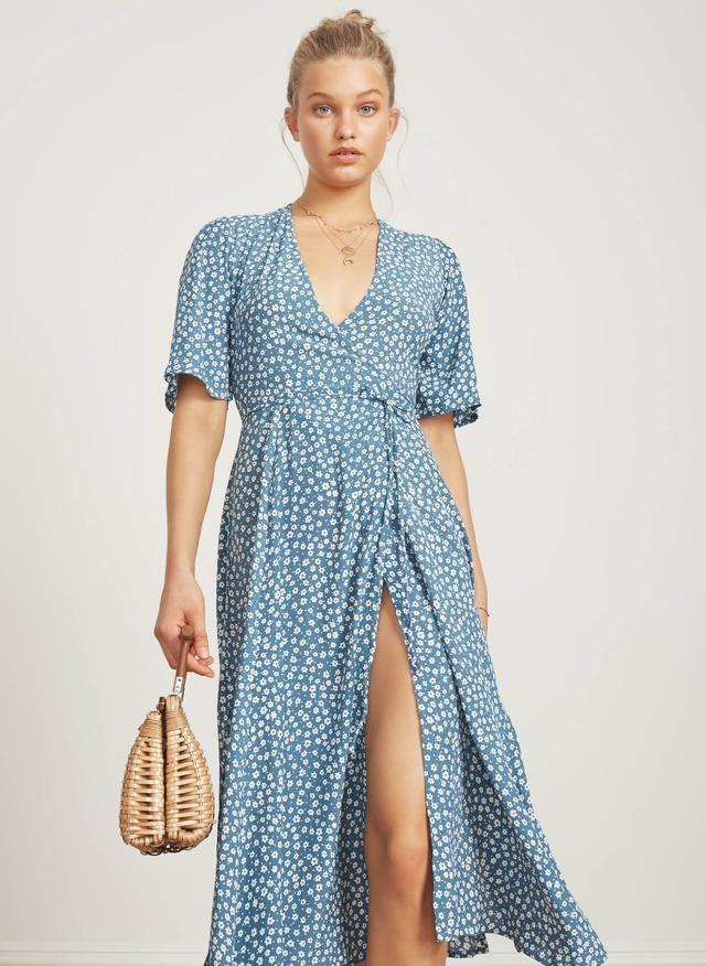 Faithfull The Brand Riviera Midi Dress in Sunny Floral- Light Blue
