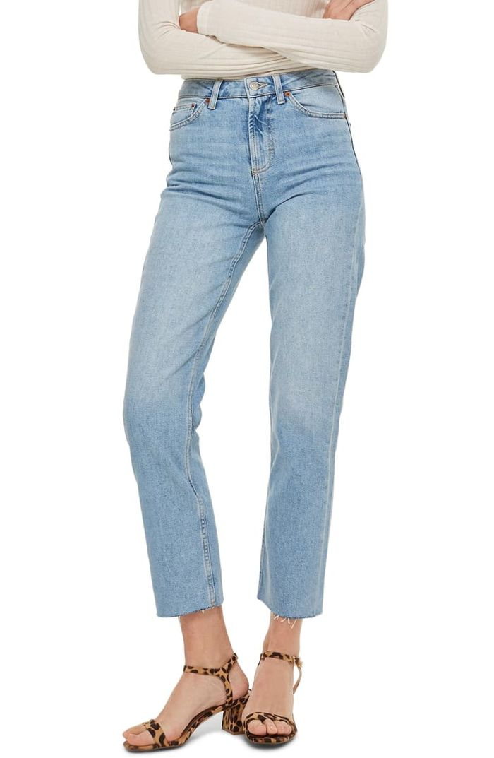 Topshop Raw Hem Crop Straight Leg Jeans