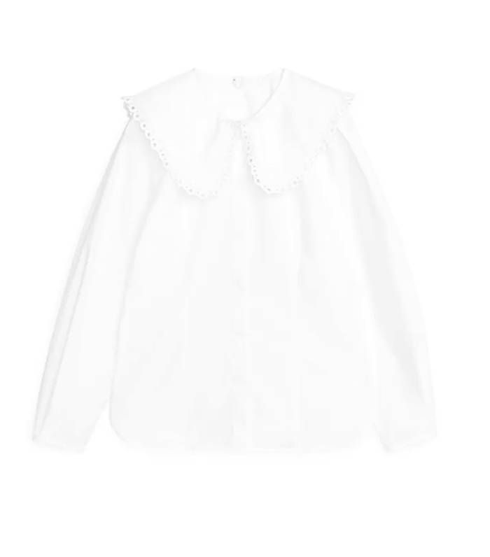 Arket Embroidered Poplin Blouse