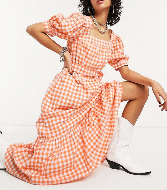 Emory Park Maxi Tea Dress with Tie Waist in Gingham