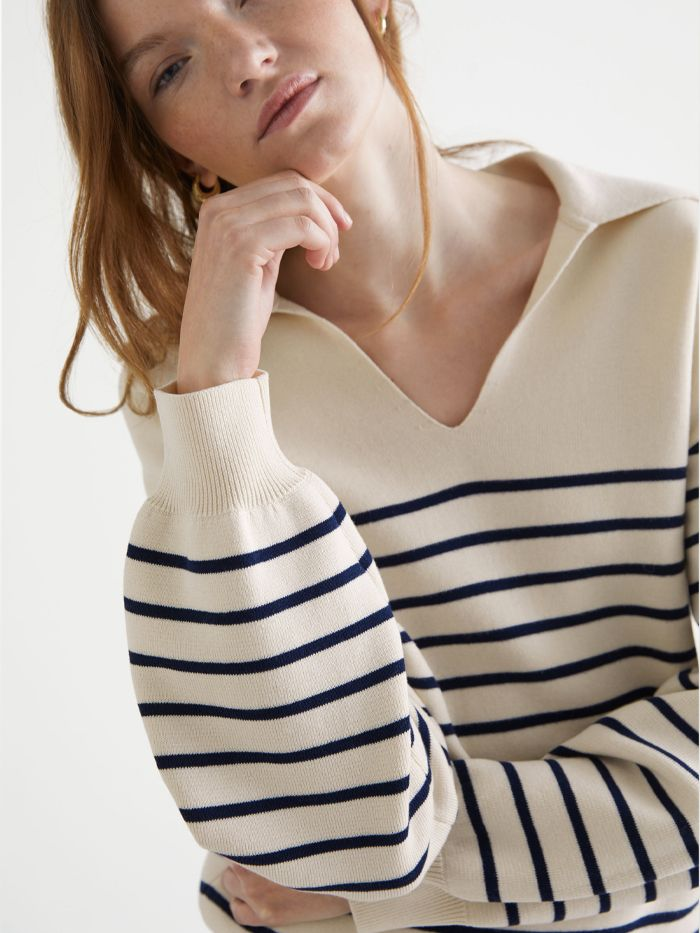 & Other Stories Relaxed Collared Sailor Stripe Sweater