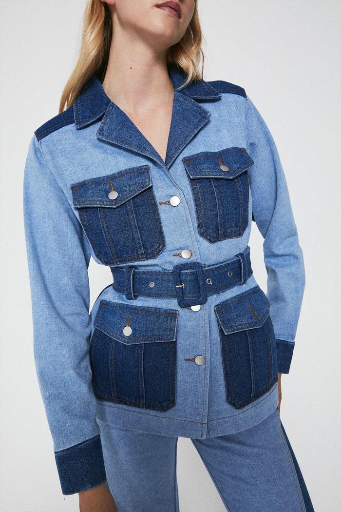 warehouse Denim Patchwork Belted Jacket
