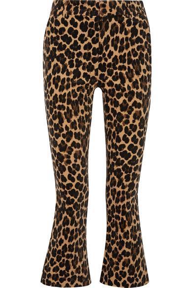 Cropped Leopard-print Cotton-blend Velvet Flared Pants