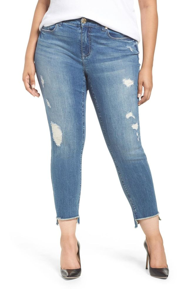 High/low Ankle Skinny Jeans