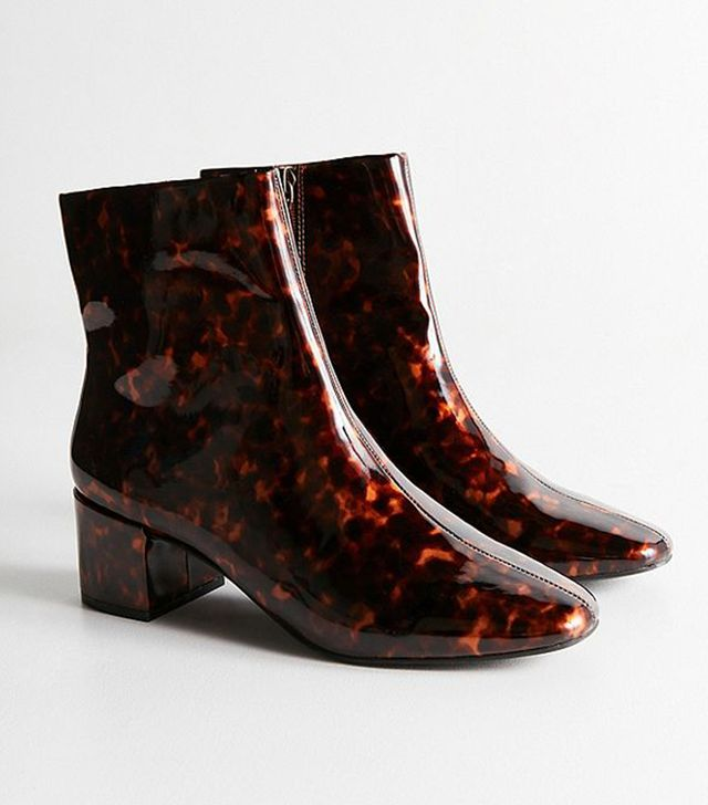 Tortoise Square Toe Ankle Boot