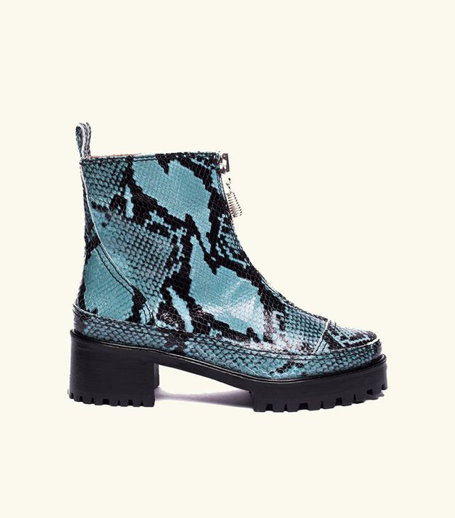 Nicole Saldana Chris Boot in Blue Embossed Snakeskin