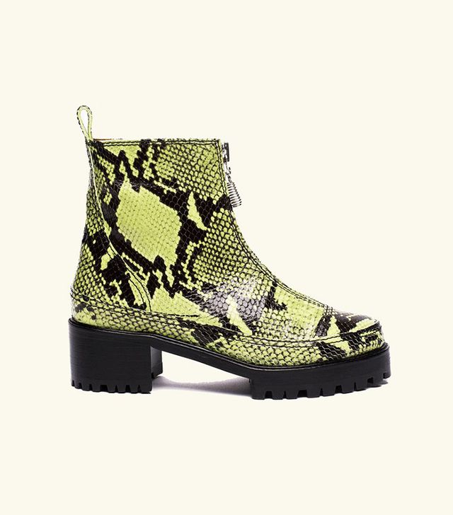 Nicole Saldana Chris Boot in Lime Embossed Snakeskin