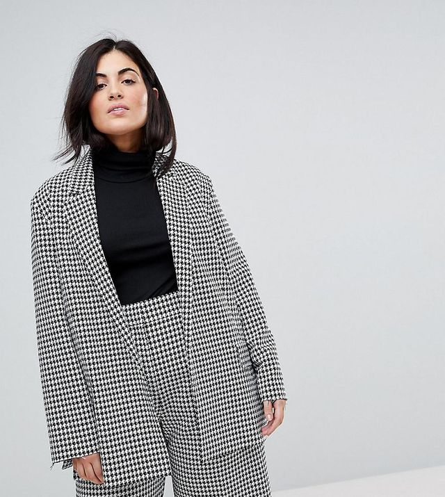 ASOS CURVE Tailored Power Blazer in Dogstooth