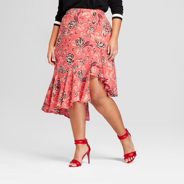 Who What Wear Asymmetrical Ruffle Midi Skirt