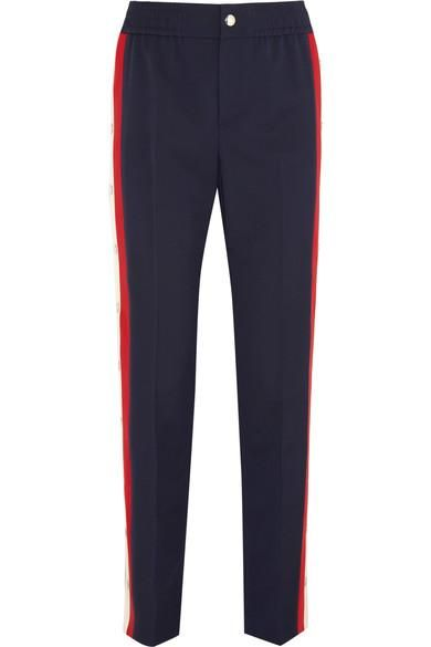 Striped Wool-blend Crepe Track Pants
